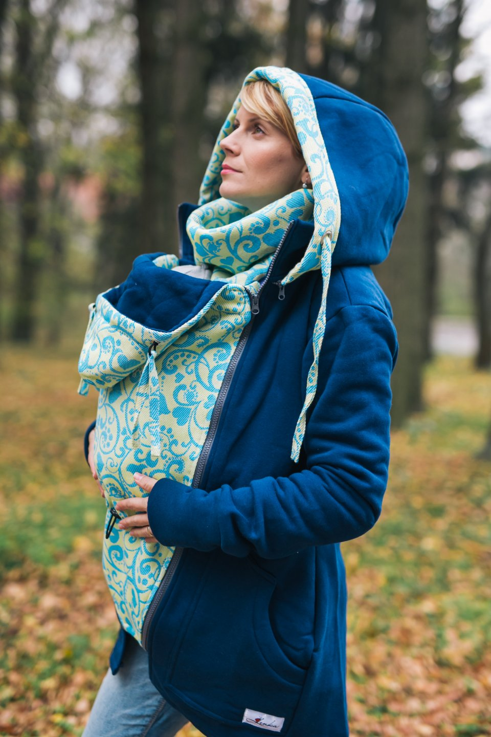 Baby Wearing Blue Hoodie - Be Lenka Harmony - Yellow