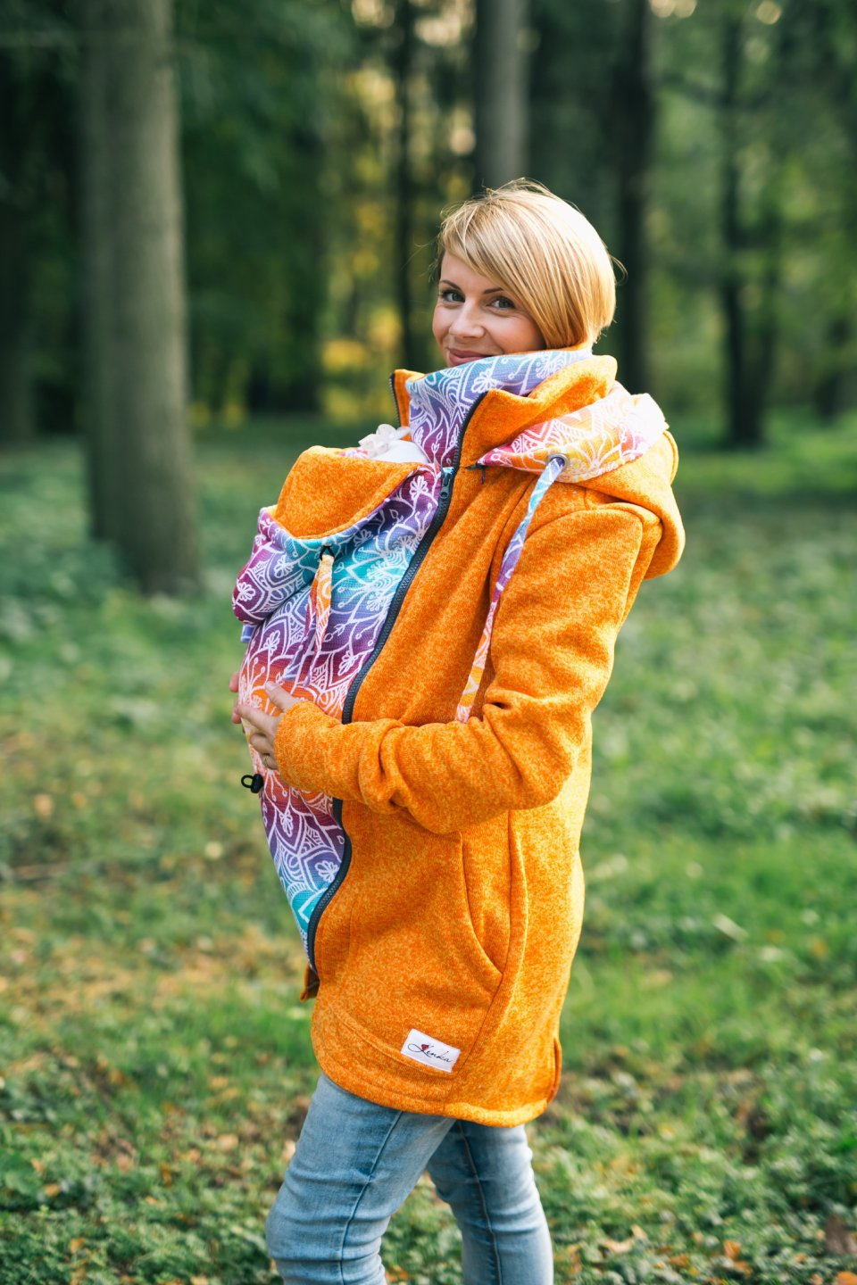 Baby Wearing Orange Sweater - Be Lenka Mandala - Rainbow